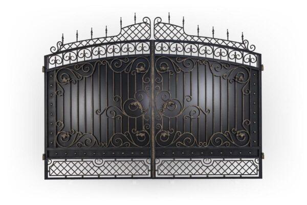 Кованые ворота, калитка и заборная секция