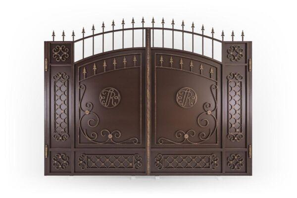 Стандартные кованые ворота c эмблемой – х.Пятихатки
