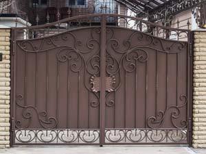 Кованые ворота и навес