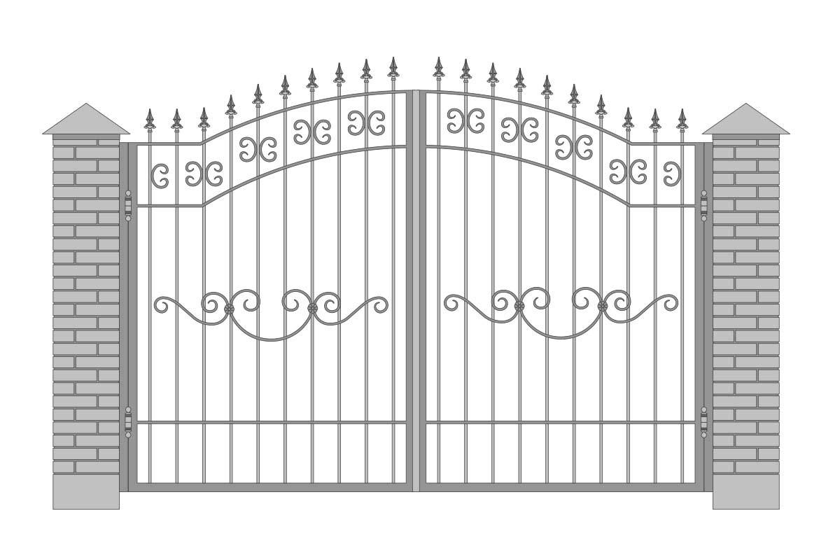 Открытые арочные ворота с шириной 3400 мм, рисунок 2