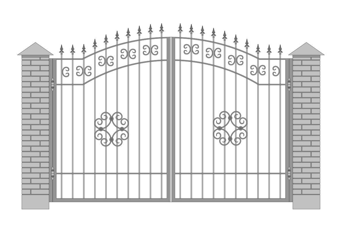 Открытые арочные ворота с шириной 3400 мм, рисунок 4