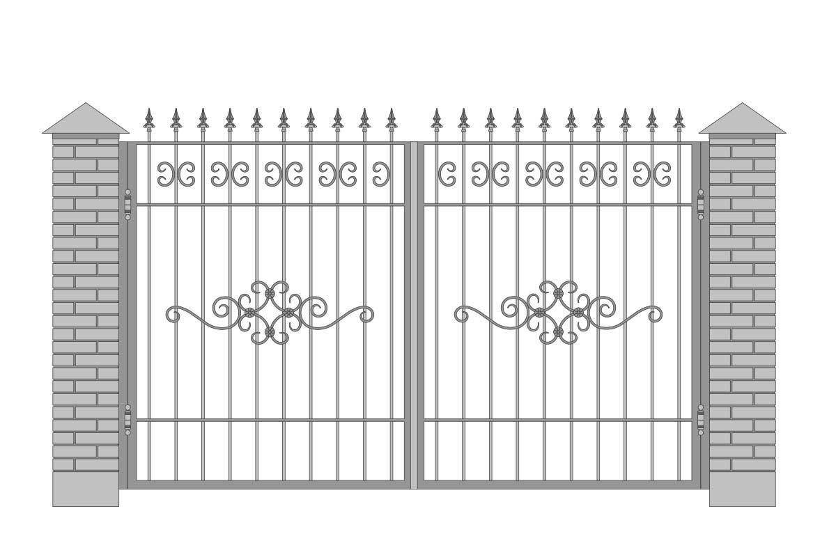 Открытые прямые ворота с шириной 3400 мм, рисунок 1