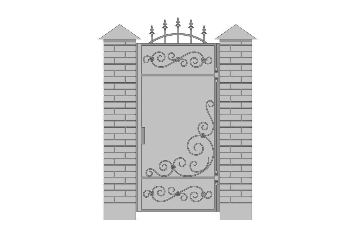Закрытая арочная калитка с шириной 1000 мм, рисунок 3