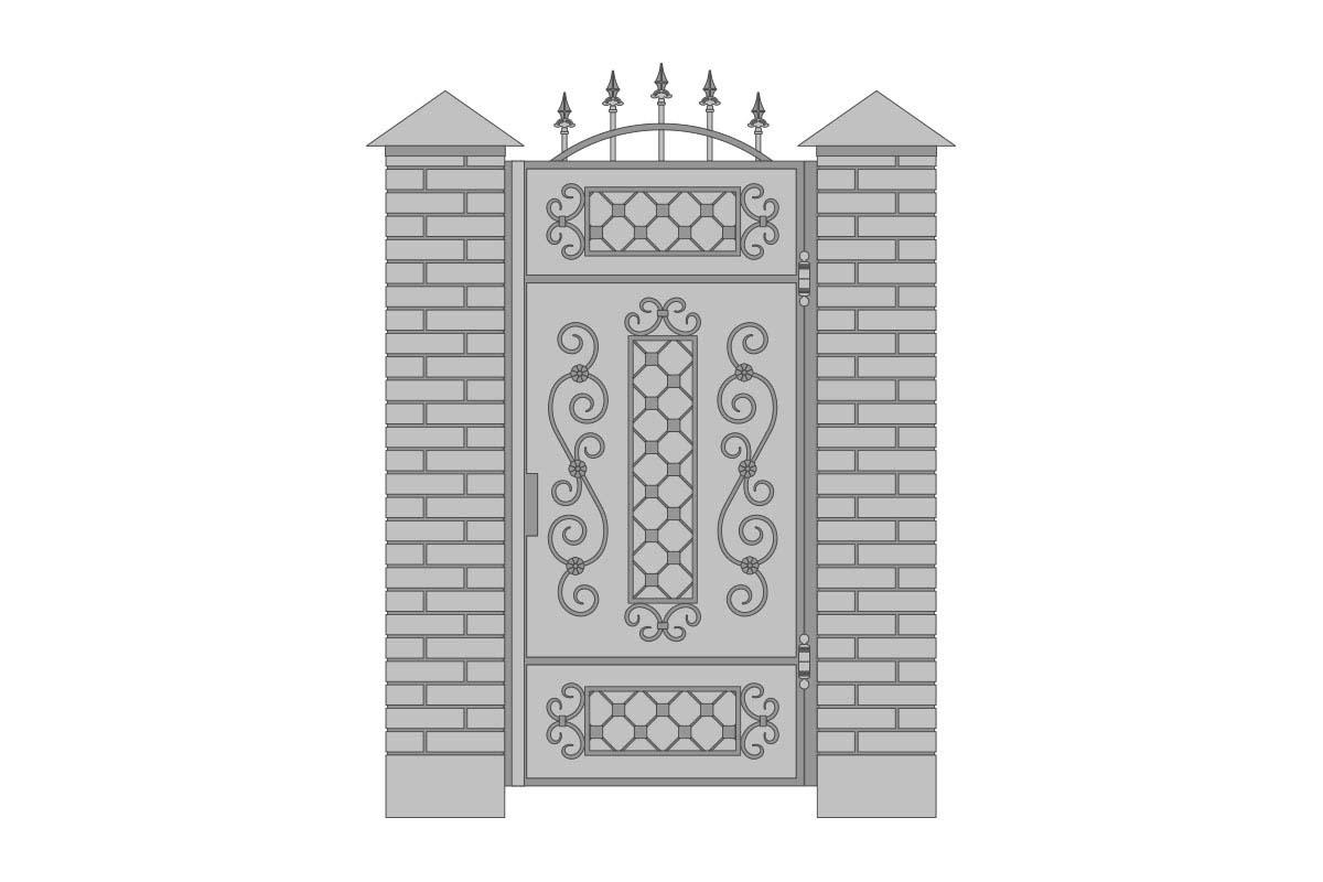 Закрытая арочная калитка с шириной 1000 мм, рисунок 1