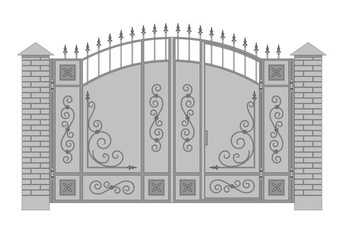 Закрытые арочные ворота с шириной 3400 мм, рисунок 3