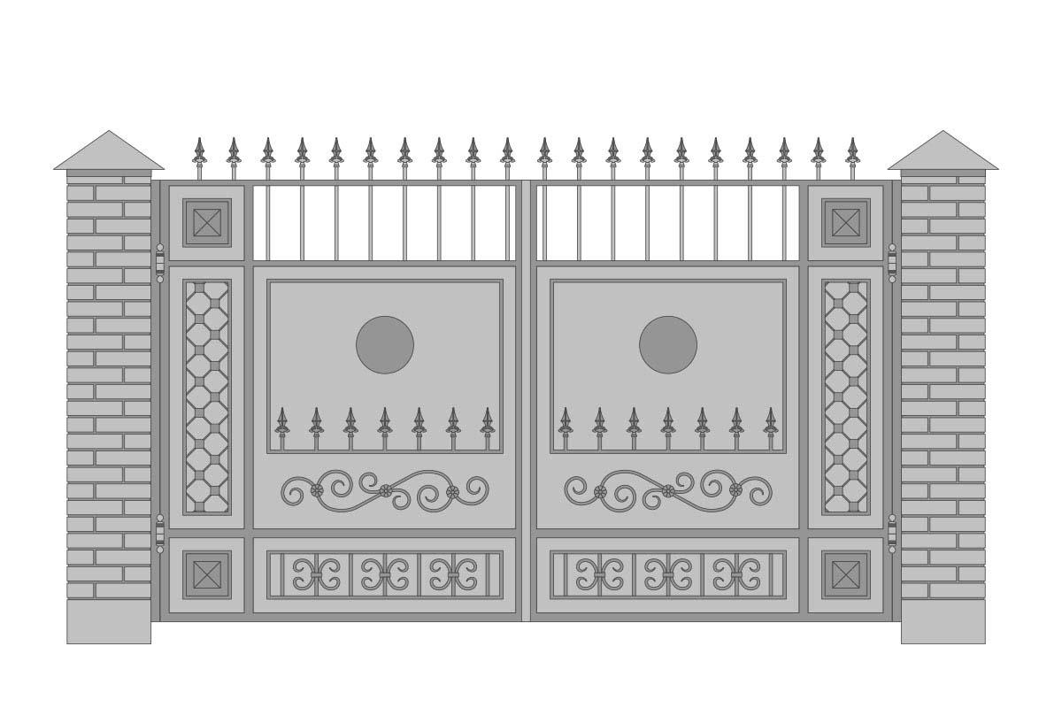 Закрытые прямые ворота с шириной 3400 мм, рисунок 2