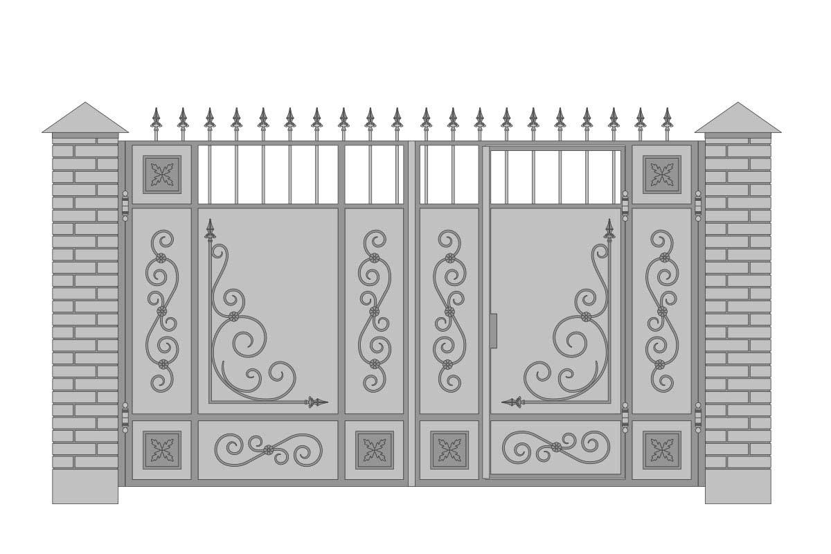 Закрытые прямые ворота со встроенной калиткой и шириной 3400 мм, рисунок 3