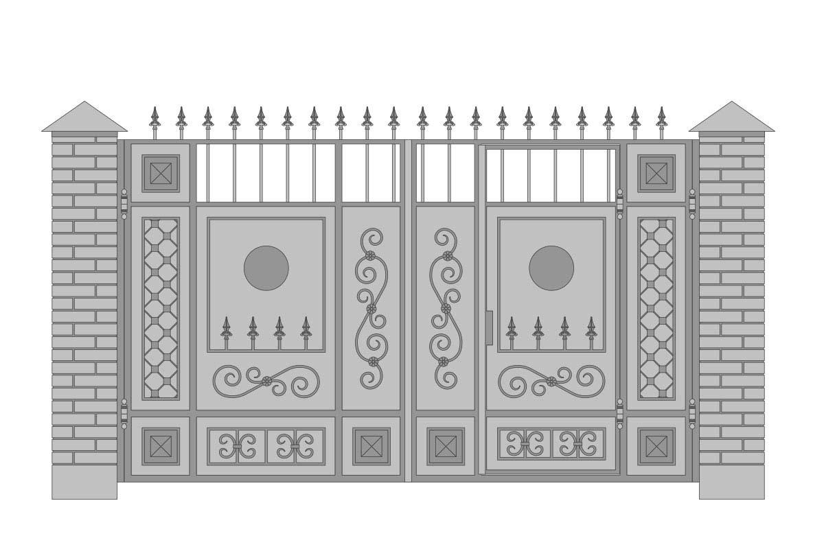 Закрытые прямые ворота со встроенной калиткой и шириной 3400 мм, рисунок 2
