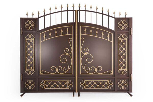 Закрытые арочные ворота с золотом ЗАВ-3000-3