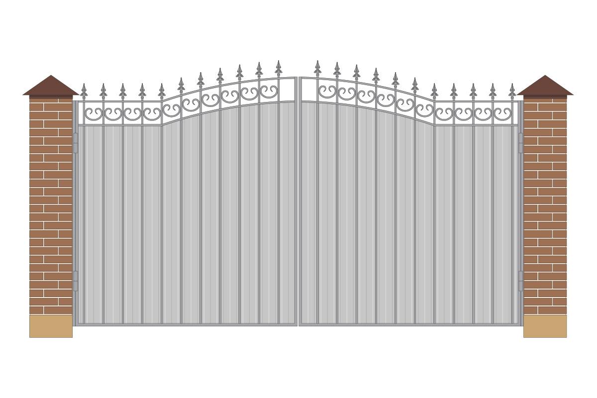 Ворота арочные из профнастила, без рисунка арт ВА-ПН-4000