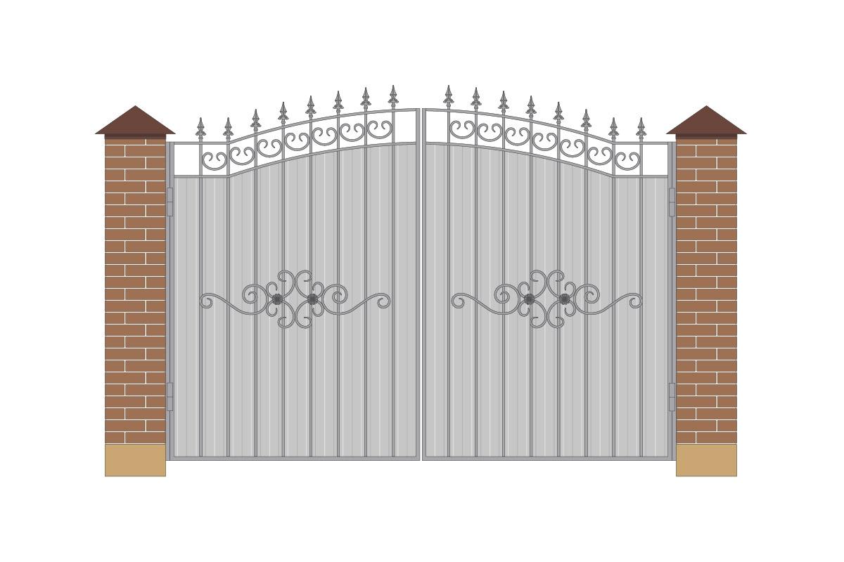 Ворота арочные из профнастила с рисунком арт. ВА-ПН-3200-1
