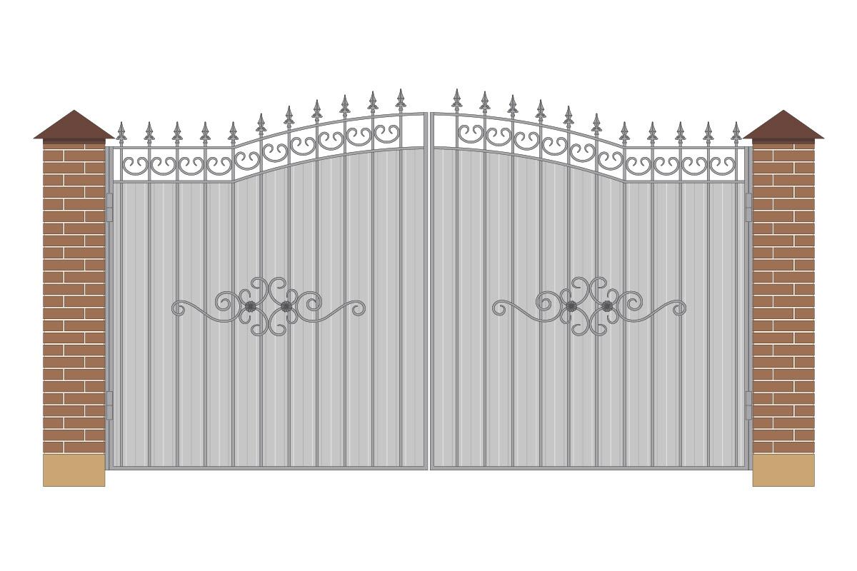 Ворота арочные из профнастила с рисунком арт. ВА-ПН-4000-1