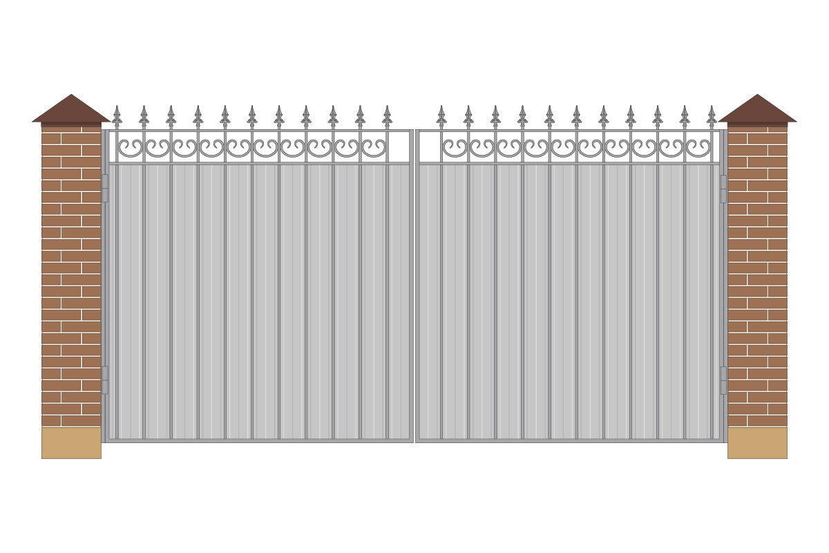 Ворота прямые из профнастила, без рисунка арт. ВП-ПН-4000
