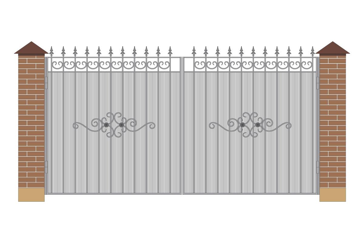 Ворота прямые из профнастила с рисунком арт. ВП-ПН-4000-1