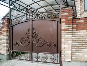 Кованые ворота, калитка, навершия и навес