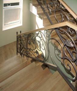 Лестница внутренняя с кованым ограждением — п.Витязево