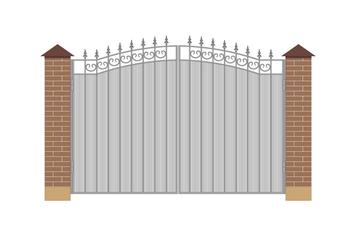 Ворота арочные из профнастила, без рисунка арт. ВА-ПН-3200