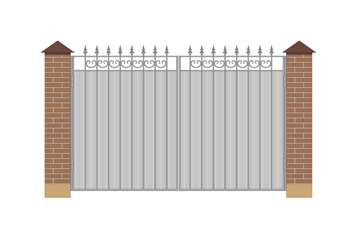 Ворота прямые из профнастила, без рисунка арт. ВП-ПН-3200