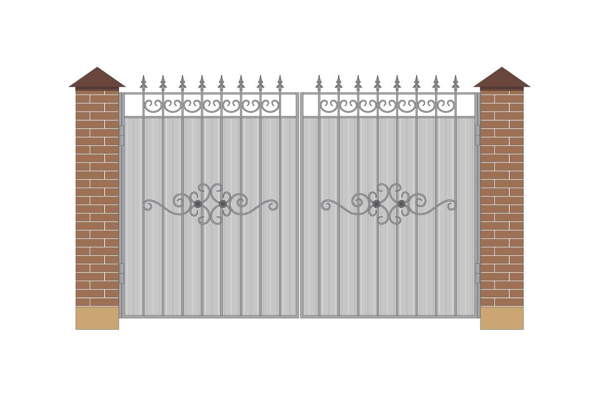 Ворота прямые из профнастила с рисунком арт. ВП-ПН-3200-1
